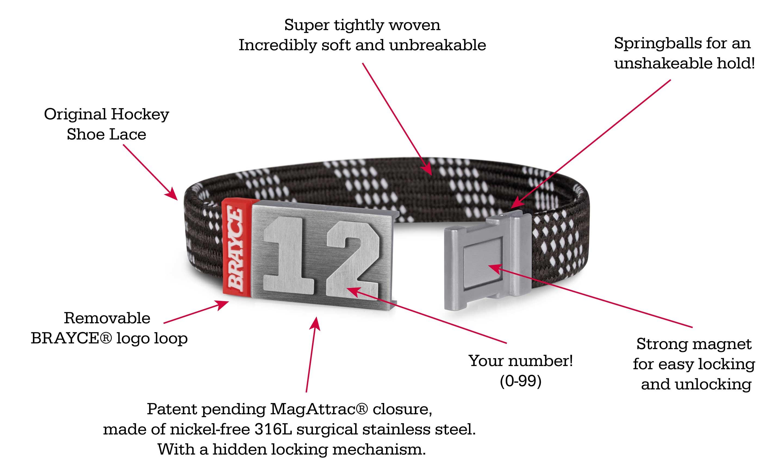 hockey lace black bracelet product information